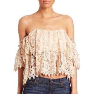 Tularosa Amelia Off-the-Shoulder Crochet Lace Top